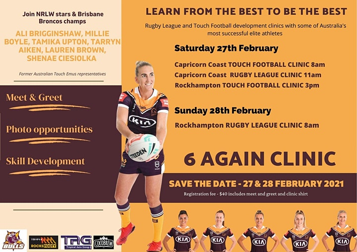 CQ Bulls proudly present the 6 Again Touch Football & Rugby League Clinics image