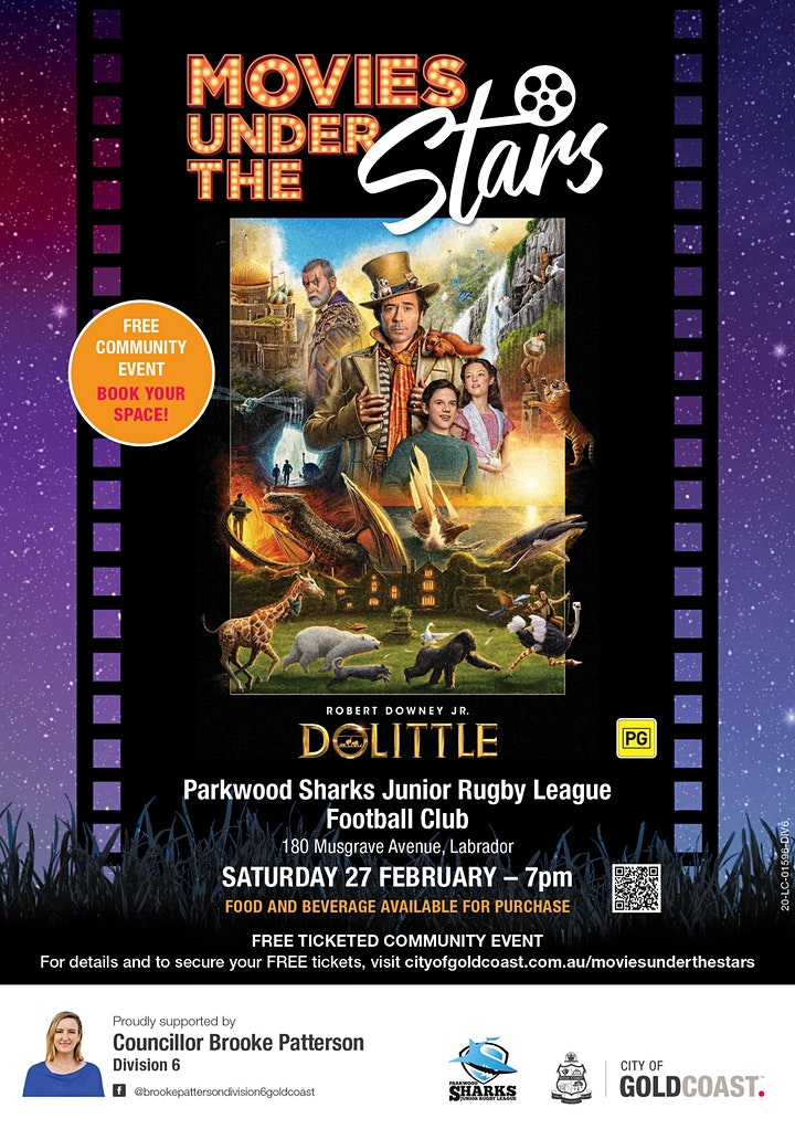 Movies Under the Stars:  Dolittle, Parkwood Sharks JRLFC - Free/ticketed image