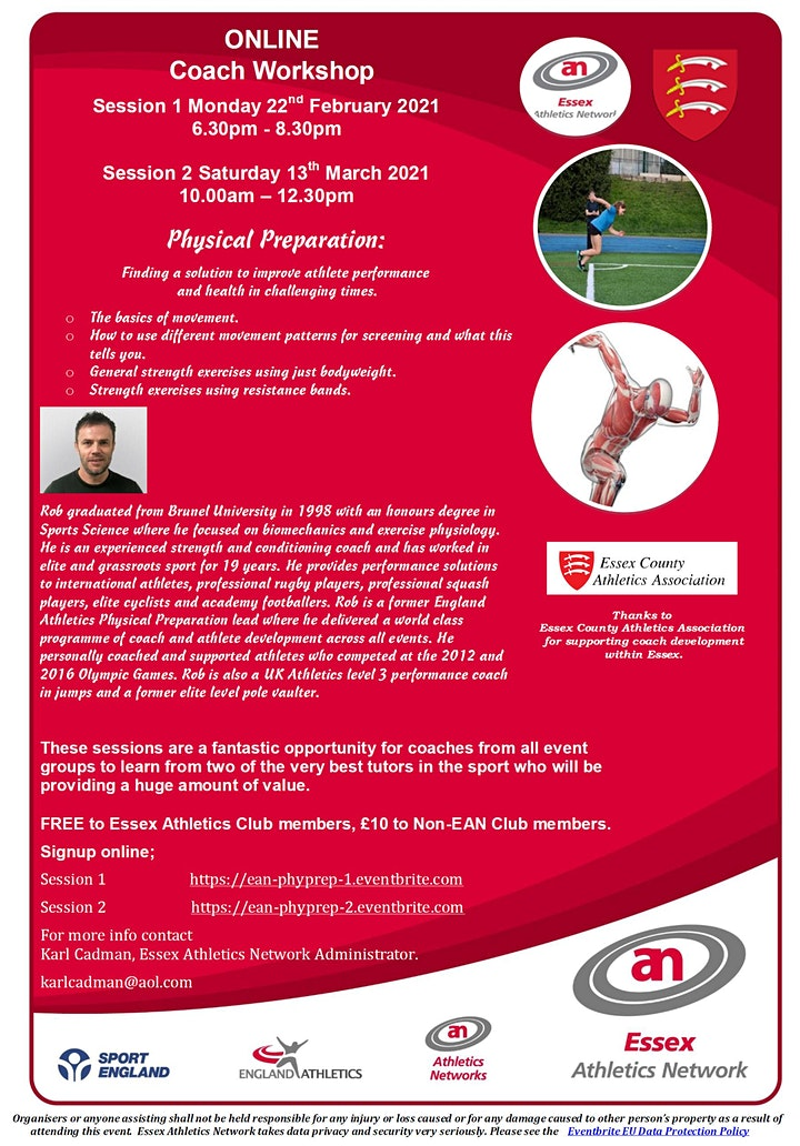 Essex Athletics Network Online Workshop; Physical Preparation (Session1) image