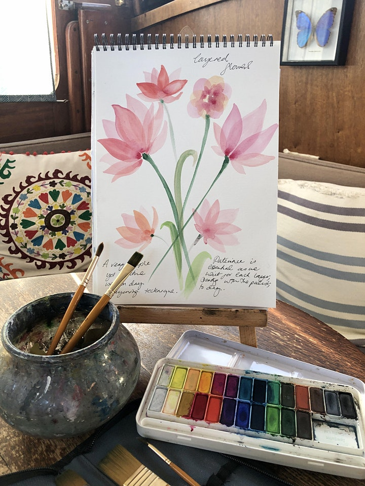 Wellbeing Art Sessions - Layered Watercolour Flowers image