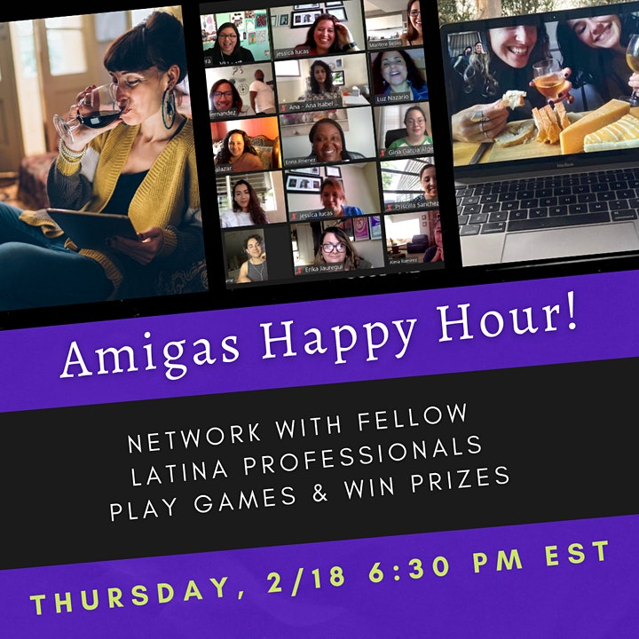 LatinaMeetup's AMIGAS Happy Hour  (2/18) Networking + Games & Prizes image