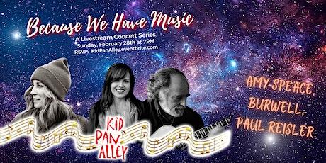 Livestream--Amy Speace, Burwell, Paul Reisler Tickets