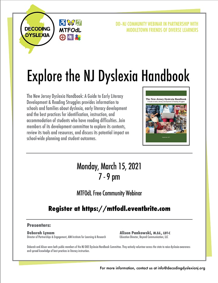 Explore the NJ Dyslexia Handbook image