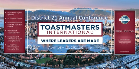 District 21 Toastmasters 2021 Annual Conference tickets