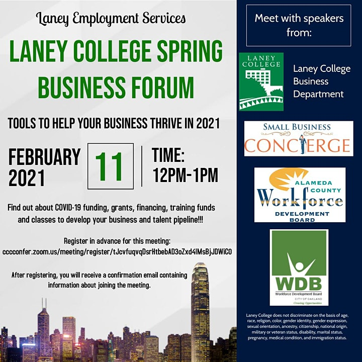 Laney College  Business Forum - Tools To Help Your Business Thrive in 2021 image