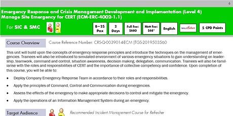 Manage Site Emergency for CERT Register for Run 17 tickets