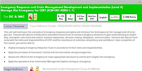 Manage Site Emergency for CERT Register for Run 19 tickets