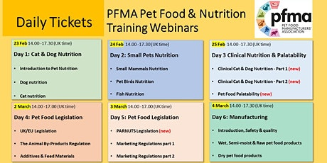 PFMA Training Series: Pet Food & Nutrition (Day Only Tickets) tickets