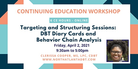 Targeting and Structuring Sessions: DBT Diary Cards & Chain Analysis biglietti