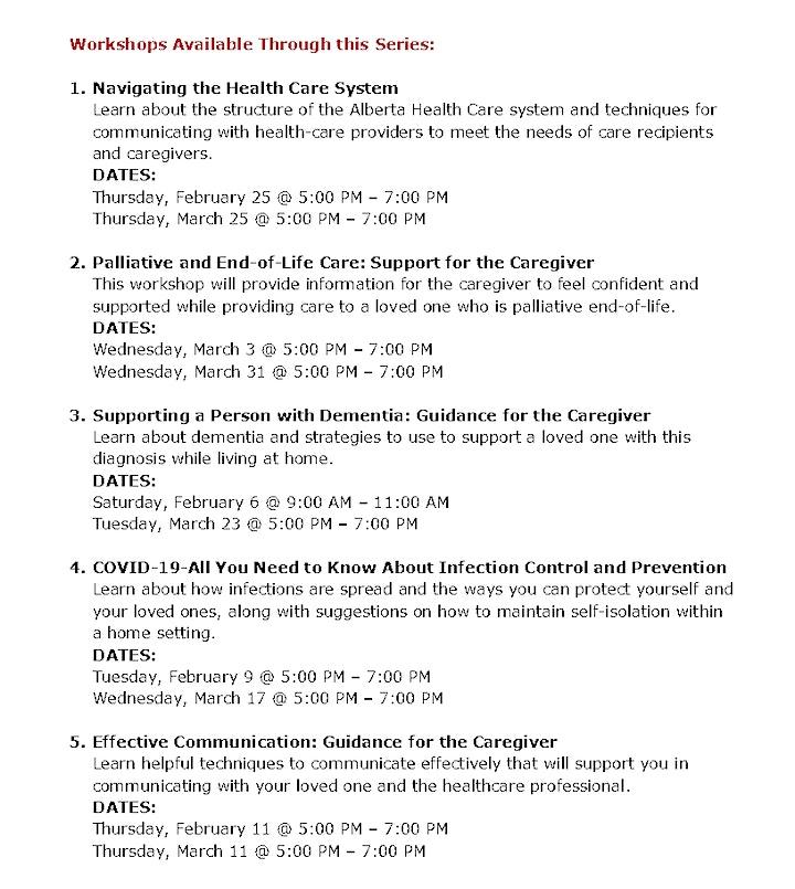 Family Caregiver Wellness Workshops Series image