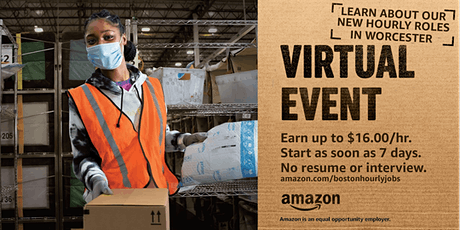 Amazon is Hiring in Worcester! - Info Session 2/24 MA Warehouse Jobs tickets