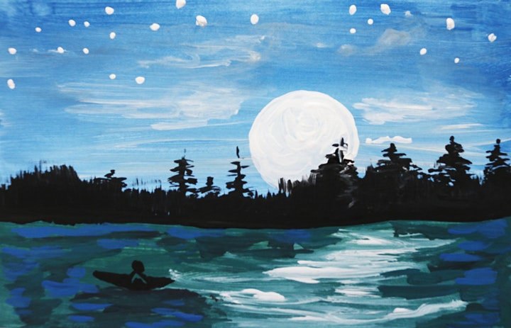 Online Adults Paint Night -Evening at the Lake image