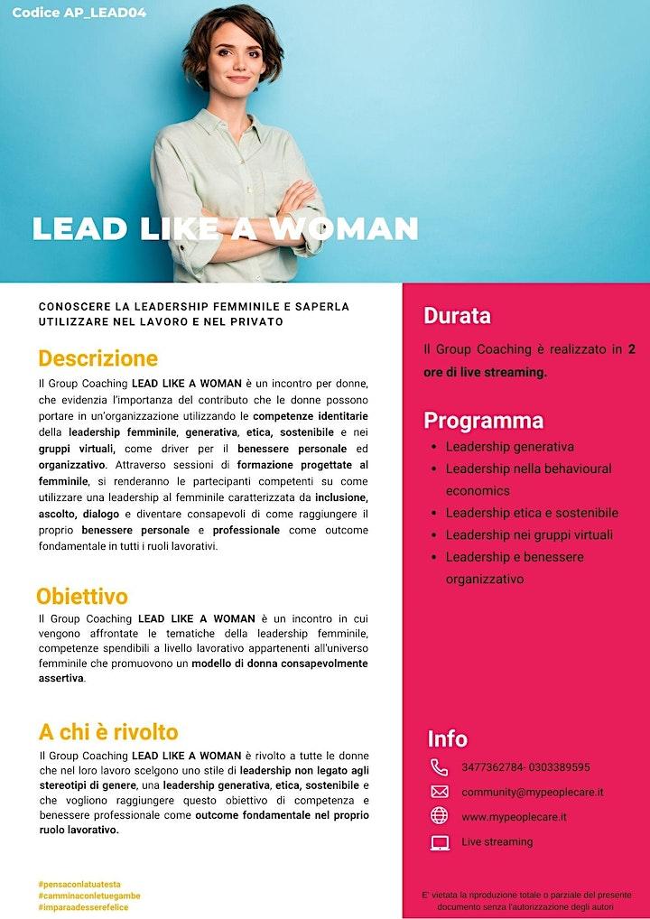 Immagine LEAD LIKE A WOMAN conoscere la leadership femminile e saperla utilizzare