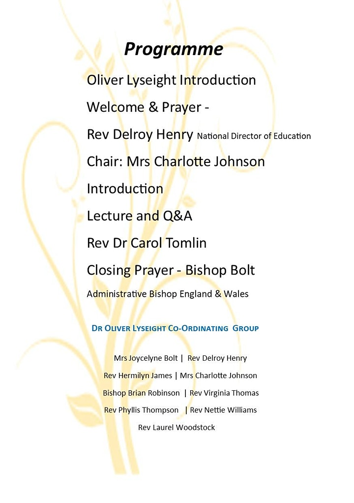 The Oliver Lyseight Annual Lecture 2021 image