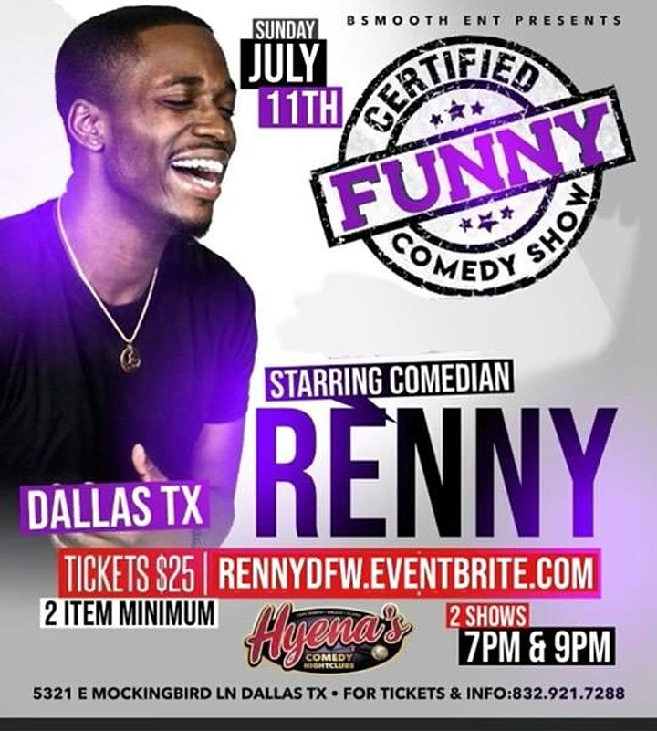 """DFW  Certified """"Funny"""" Comedy Show Back By Popular Demand  Renny LIVE image"""