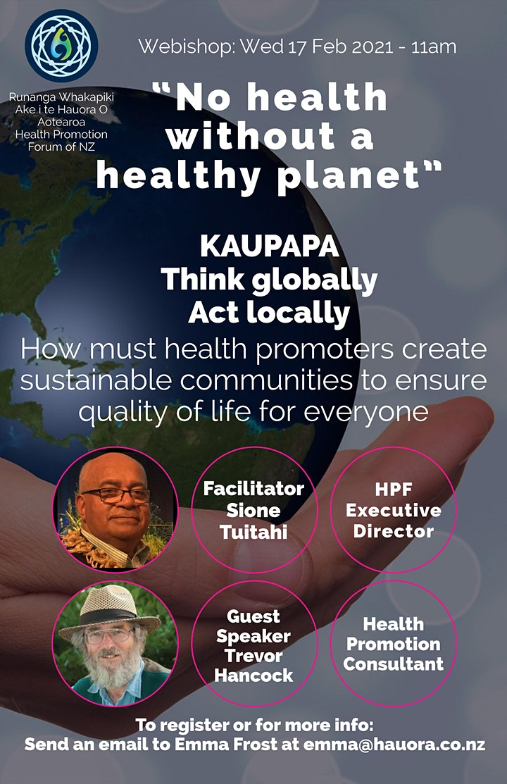 No health without a healthy planet: KAUPAPA Think globally, Act locally image