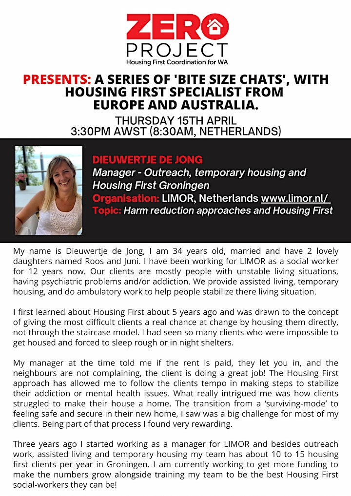 Zero Project Presents - A Series of Housing First 'Bite Size Chats' image