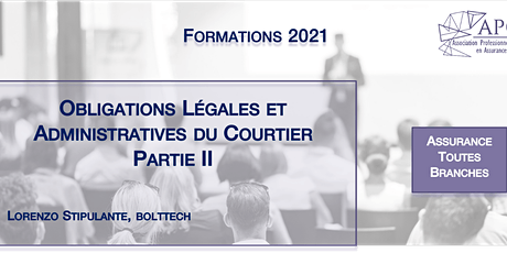 Obligations Légales et Administratives du Courtier Partie II tickets