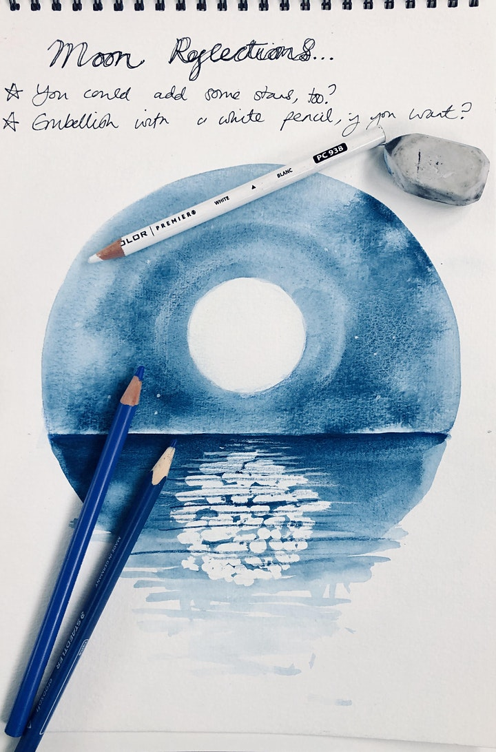Wellbeing Art Sessions - Reflections of the Moon in Watercolour image