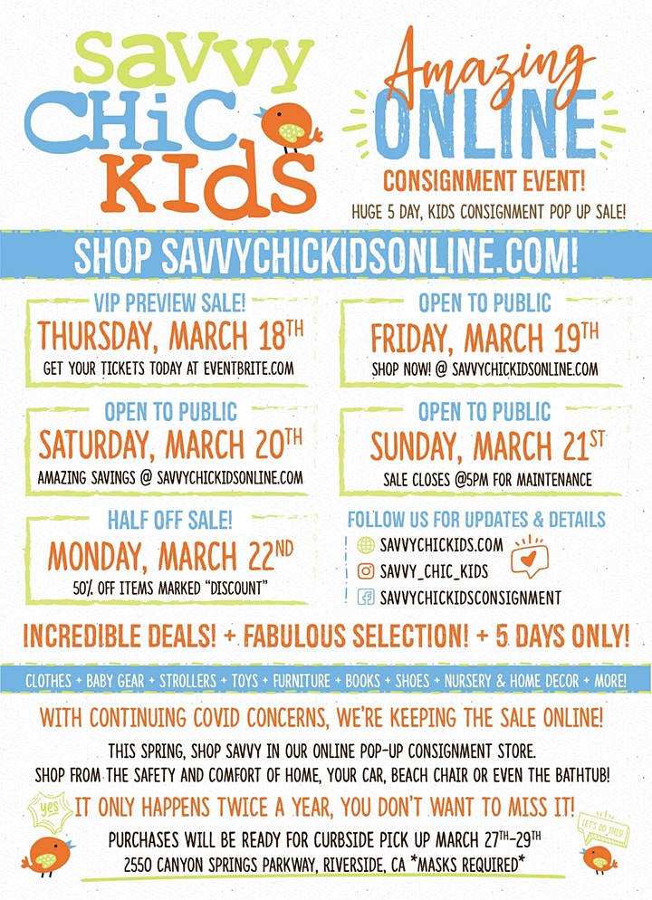Savvy Chic Kids Consignment Spring ONLINE VIP Sale! image
