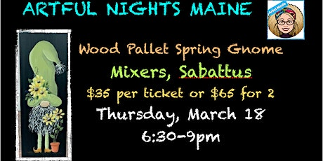 Paint a wood pallet spring gnome sign at Mixers tickets