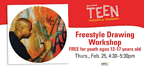 "FREE | Teen Tuesday/Thursday ""Freestyle Drawing  Workshop"" via ZOOM tickets"