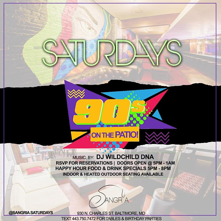Back 2 The Patio: 90's On The Patio @ Sangria Patio Bar @5pm image
