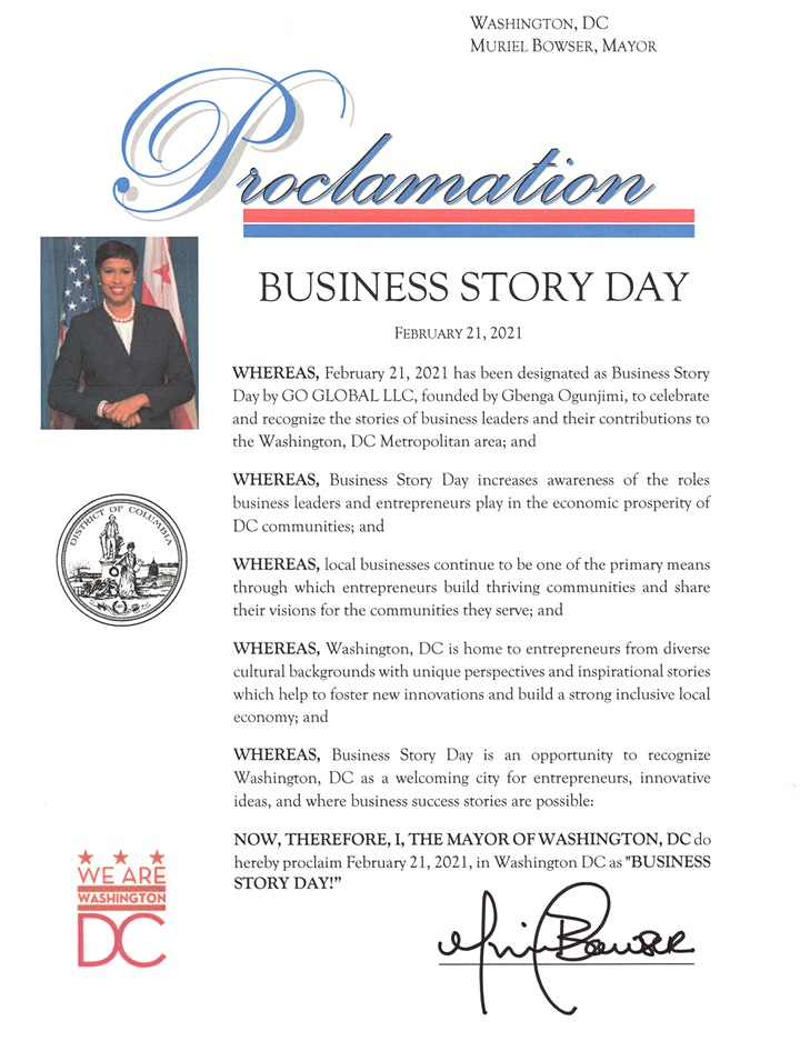 Business Story Day Official Proclamation Celebration image