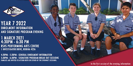 Robina SHS Year 7 2022 Enrolment Information and Signature Program Evening tickets