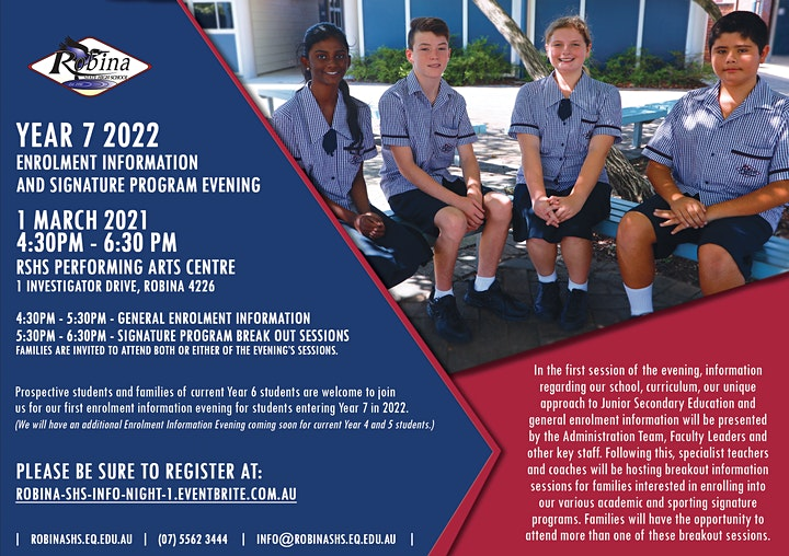 Robina SHS Year 7 2022 Enrolment Information and Signature Program Evening image