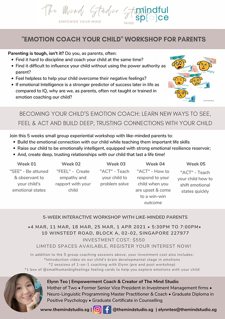 Becoming your child's emotion coach! 5-week workshop image