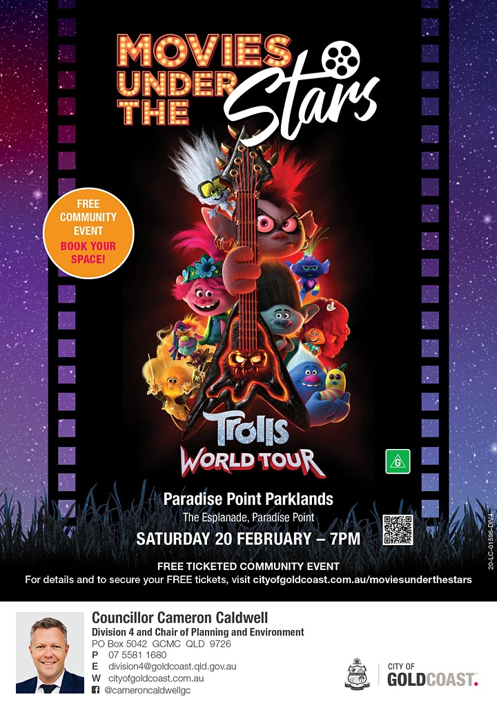 Movies Under the Stars:  Trolls World Tour, Paradise Point Parklands - Free image