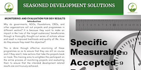 Monitoring and Evaluation for Development Results Training tickets