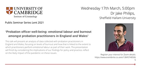 Probation officer well-being: emotional labour and burnout... tickets