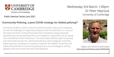 Community Policing, a post COVID strategy for Global policing? tickets