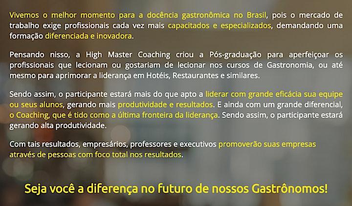 Imagem do evento Pós-graduação Docência Gastronômica com Coaching Online