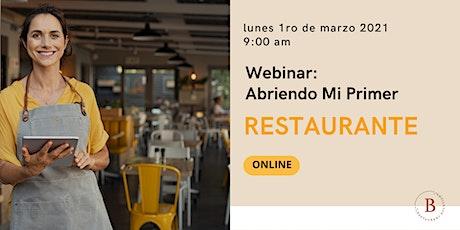 Webinar  Abriendo Mi Primer Restaurante bilhetes