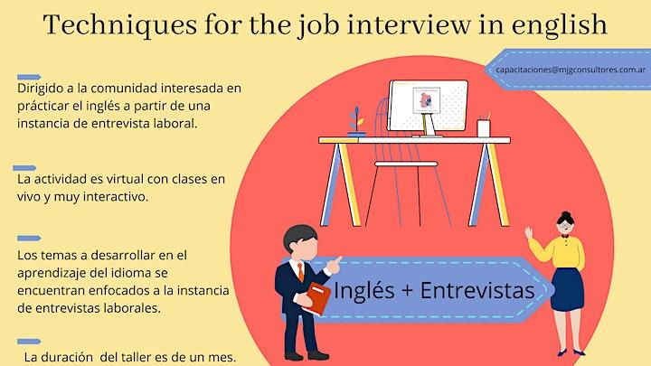 Imagen de TECHNIQUES FOR THE JOB INTERVIEW IN ENGLISH