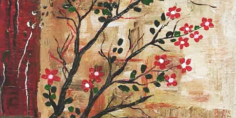 Online Adults Paint Night -Red Flower Branches tickets