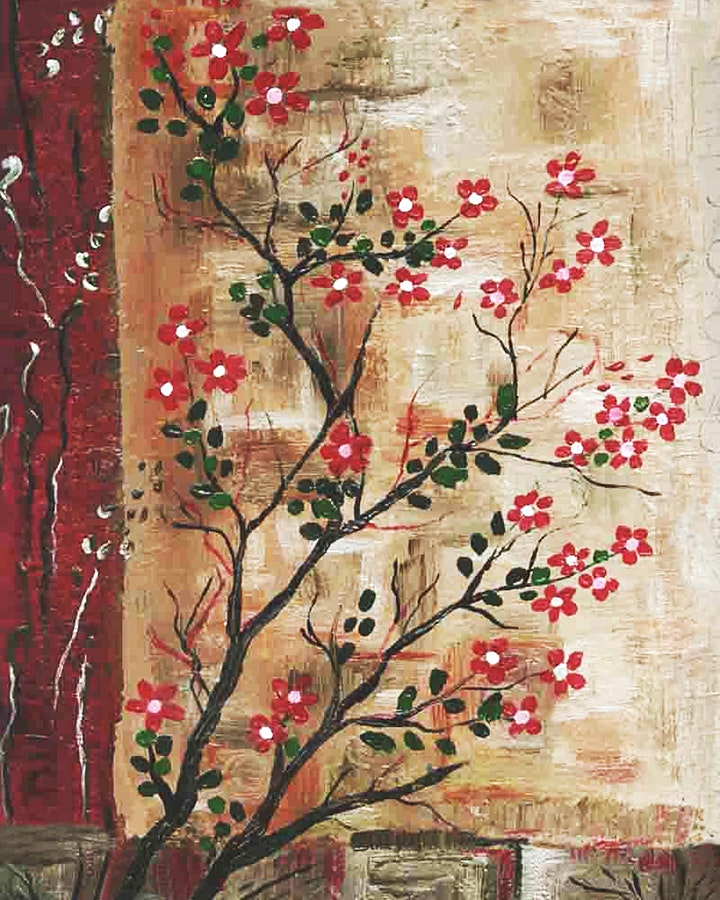 Online Adults Paint Night -Red Flower Branches image