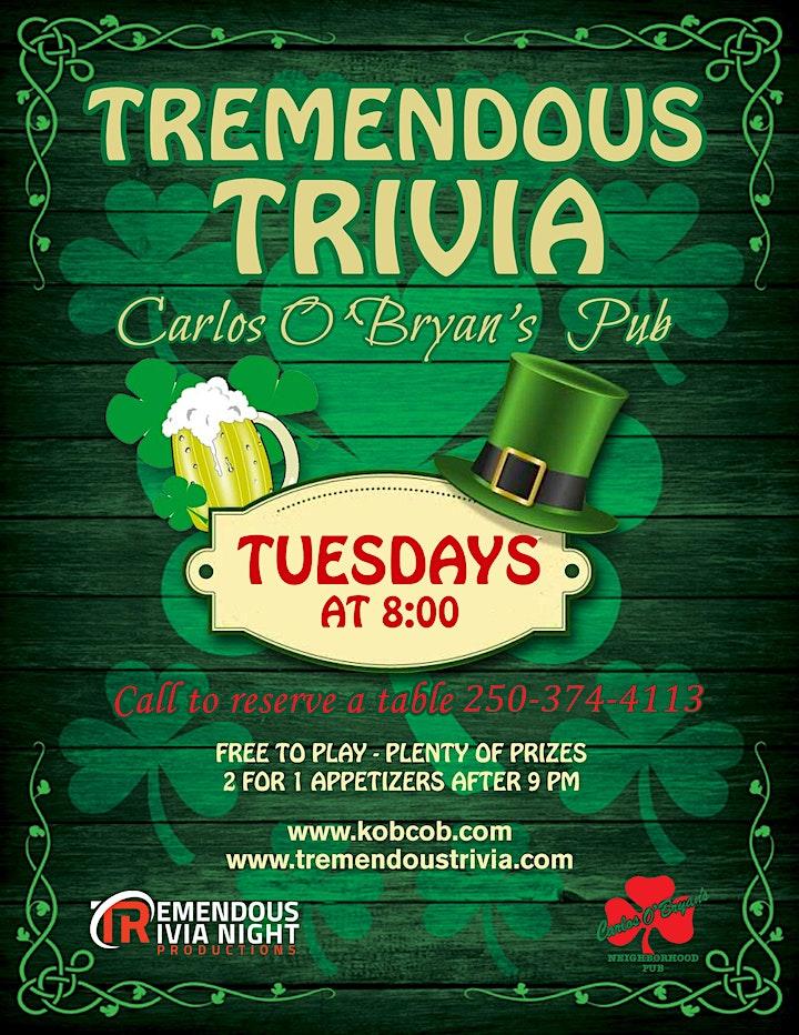 Tuesday Tremendous Trivia at Carlos O'Bryan's  Kamloops! image