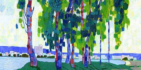 Online Adults Paint Night, Green Trees by the River Impressionist Landscape tickets