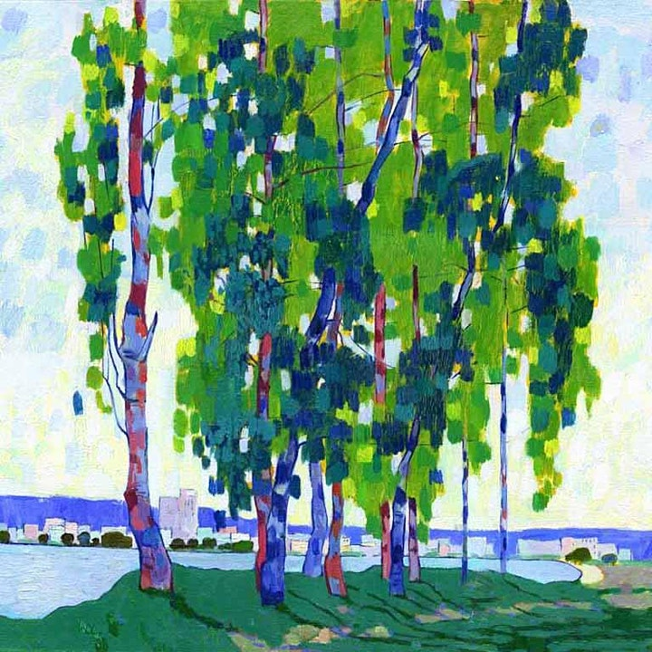 Online Adults Paint Night, Green Trees by the River Impressionist Landscape image