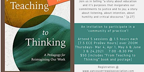 """From Teaching to Thinking"" (Pelo &. Carter) book & dialogue series II tickets"