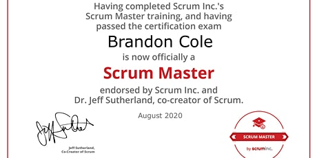 SMSI Scrum Master signed by Jeff Sutherland (online, ENGLISH) Tickets