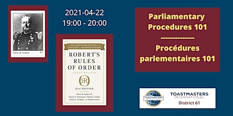 Parliamentary Procedures 101 /  Procédures parlementaires 101 tickets