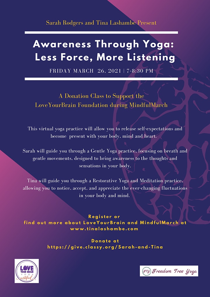 Awareness Through Yoga: Less Force, More Listening - Fundraiser Event image