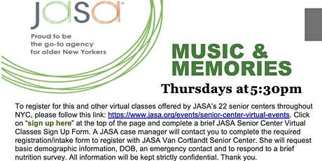 Music and Memories Remote Class @ JASA tickets