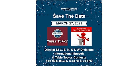 D62 C,E,N,S&W Divisions International Speech & Table Topics Contests tickets