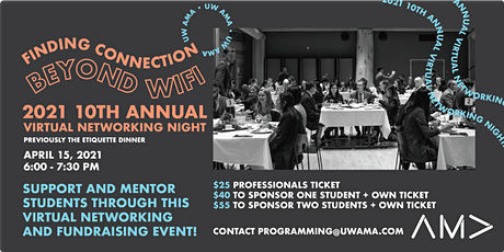 UW AMA 10th Annual Virtual Networking Night 2021 - Professionals tickets